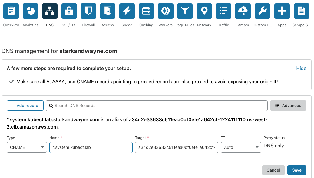 cloudflare dns cname example